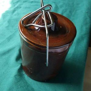 Medium Sized Grease Saver Crock brown enamel